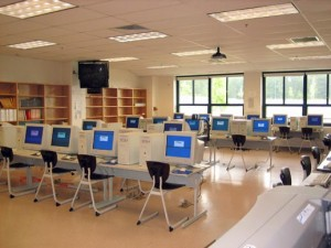 an empty classroom with many computers. Illustration picture