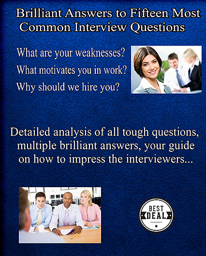 cover of 15 most common interview questions, a bonus book